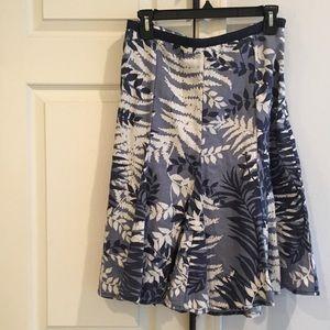 ANN TAYLOR Lined Cotton Blue Multi Foliage Skirt 4